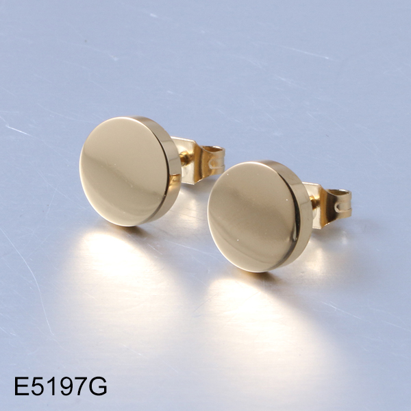E5197G gold unisex stud stainless steel earrings