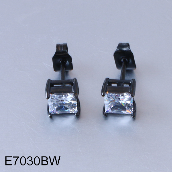 E7030BW black stainless steel with cut white cubic zirconia stud earrings