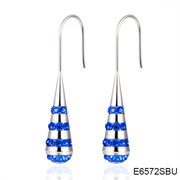 E6572SBU water drop with blue crystal stainless steel earrings