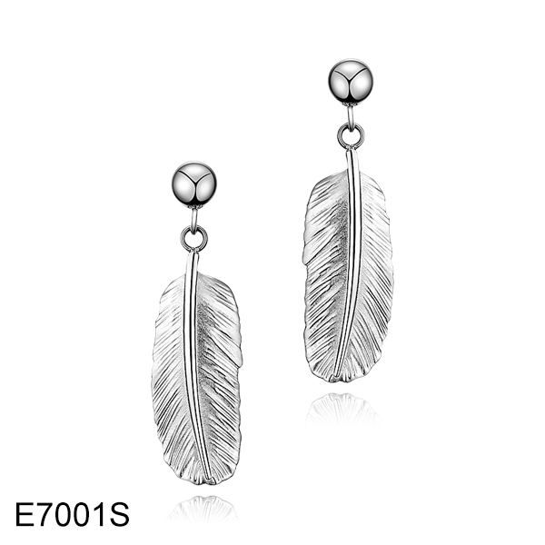 E7001S long feather tassel stainless steel earrings