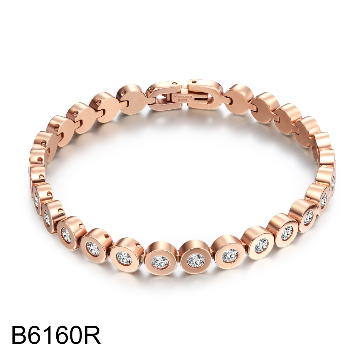B6160R rose gold with cryst...