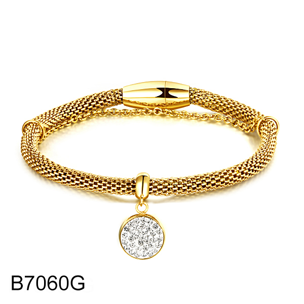 B7060G gold double chain with round diamond stainless steel bracelet