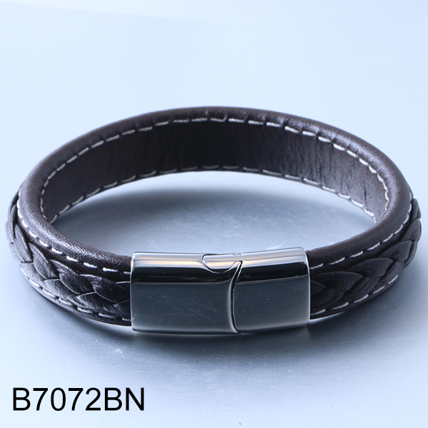 B7072BN Vintage leather knitted cowhide brown stainless steel bracelet