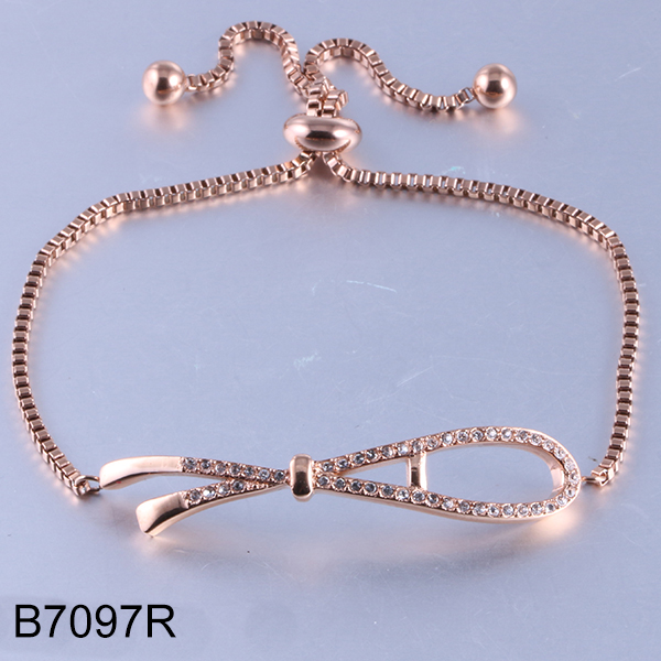 B7097R adjustable golden stainless steel bracelet