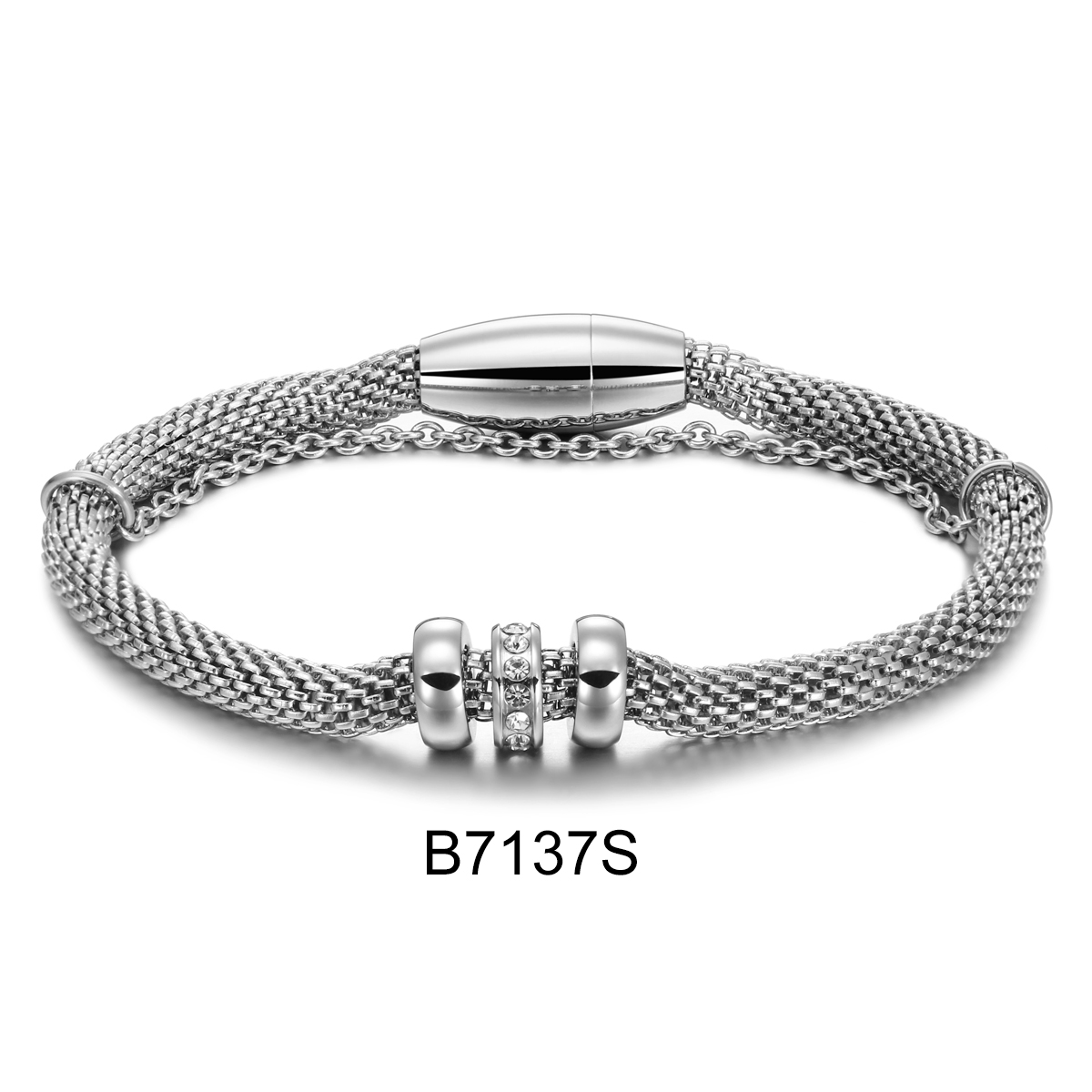 B7137S sliver double chain w...