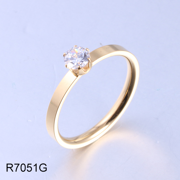 R7051G gold with diamond stainless steel ring