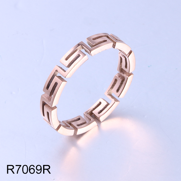 R7069R rose gold hollow maze stainless steel ring