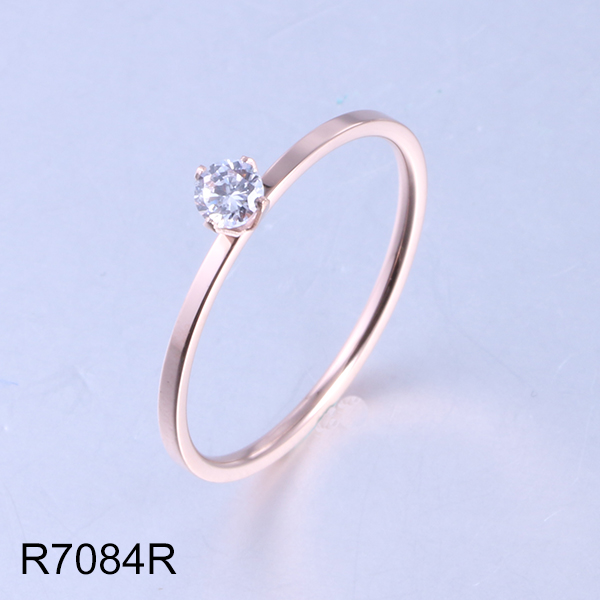 R7084R rose gold with diamond wedding stainless steel ring