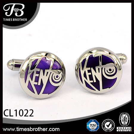 CL1022 round sliver stainless steel enamel cufflinks for men