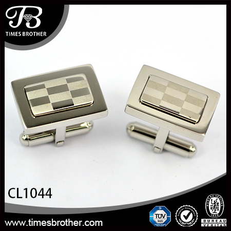 CL1044 rectangular sliver stainless steel enamel cufflinks for men
