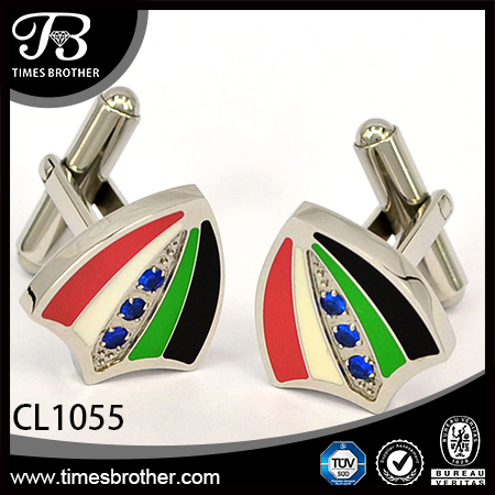 CL1055 Heart sliver stainless steel enamel cufflinks for men