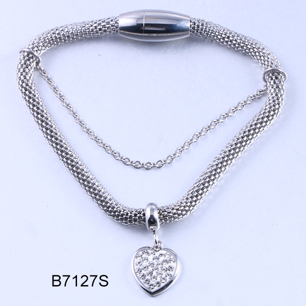 B7127S sliver double chain w...