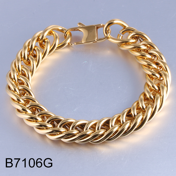 B7106G golden twist collar chain stainless steel bracelet