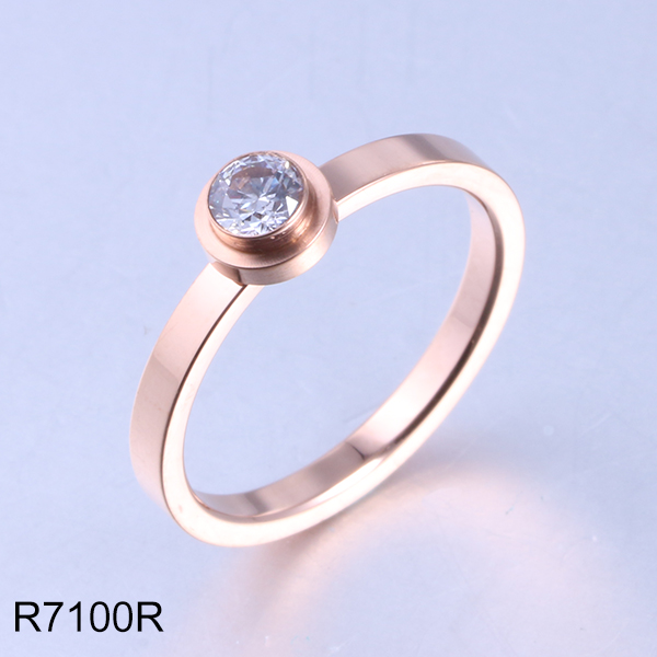R7100R rose gold with diamond  women wedding stainless steel ring