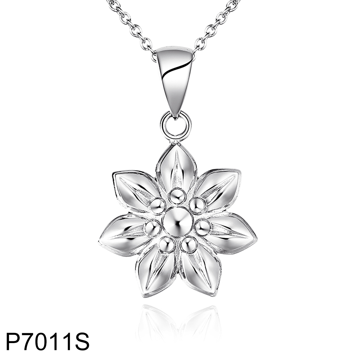 P7011S sliver flower stainless steel on chain pendant necklace